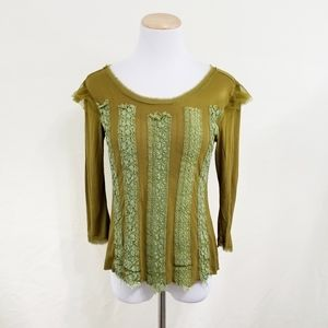 Sundance green lace striped tee raw edge distress